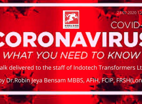A talk on Covid-19 to the staff of Indotech Transformers Ltd | By Dr.Robin Jeya Bensam