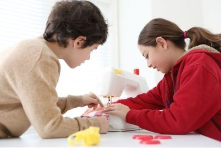 boys and girl sewing homeschool curriculum