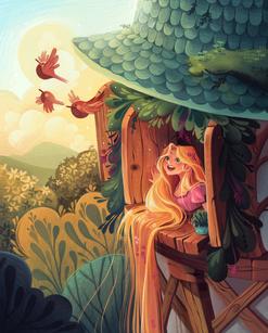 Rapunzel Opening a Window