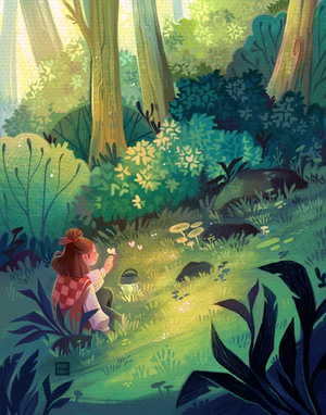 Girl Sitting in a Magical Forest