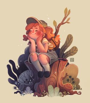 Tilly Sitting on a Log