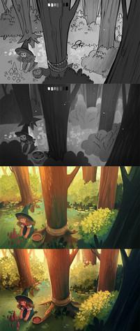 Kikwi Picking Mushrooms in the Forest