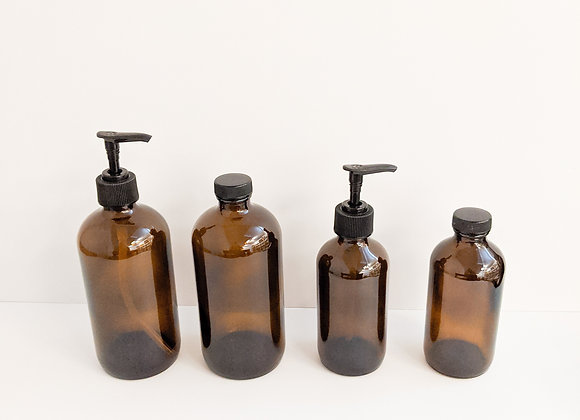 Amber Glass Bottles and Lids