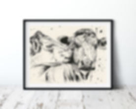 Kissing Cows Framed.jpg