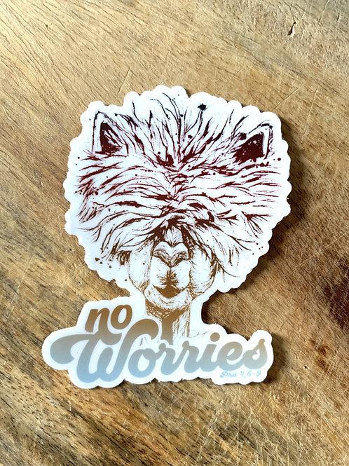 No Worries Alpaca Sticker