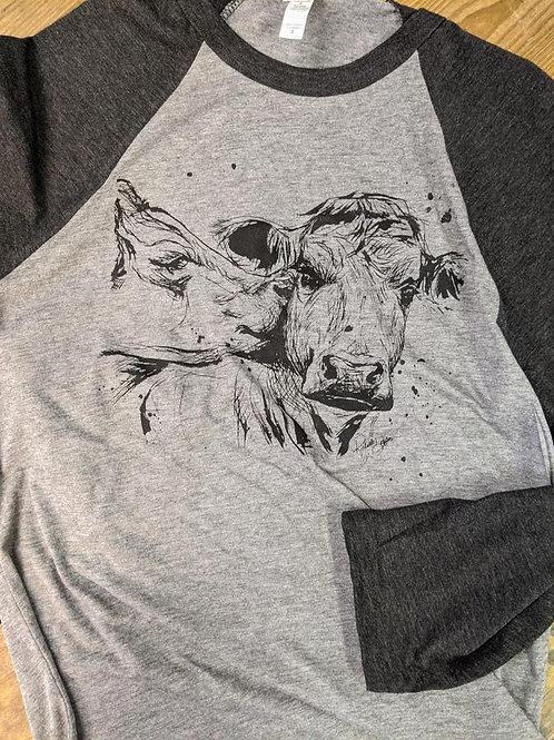 Kissing Cows   3/4 Raglan