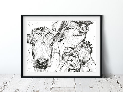 Farm Illustration | 11x14 Unframed Print