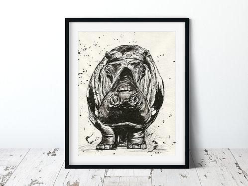 Hippo | Unframed Print