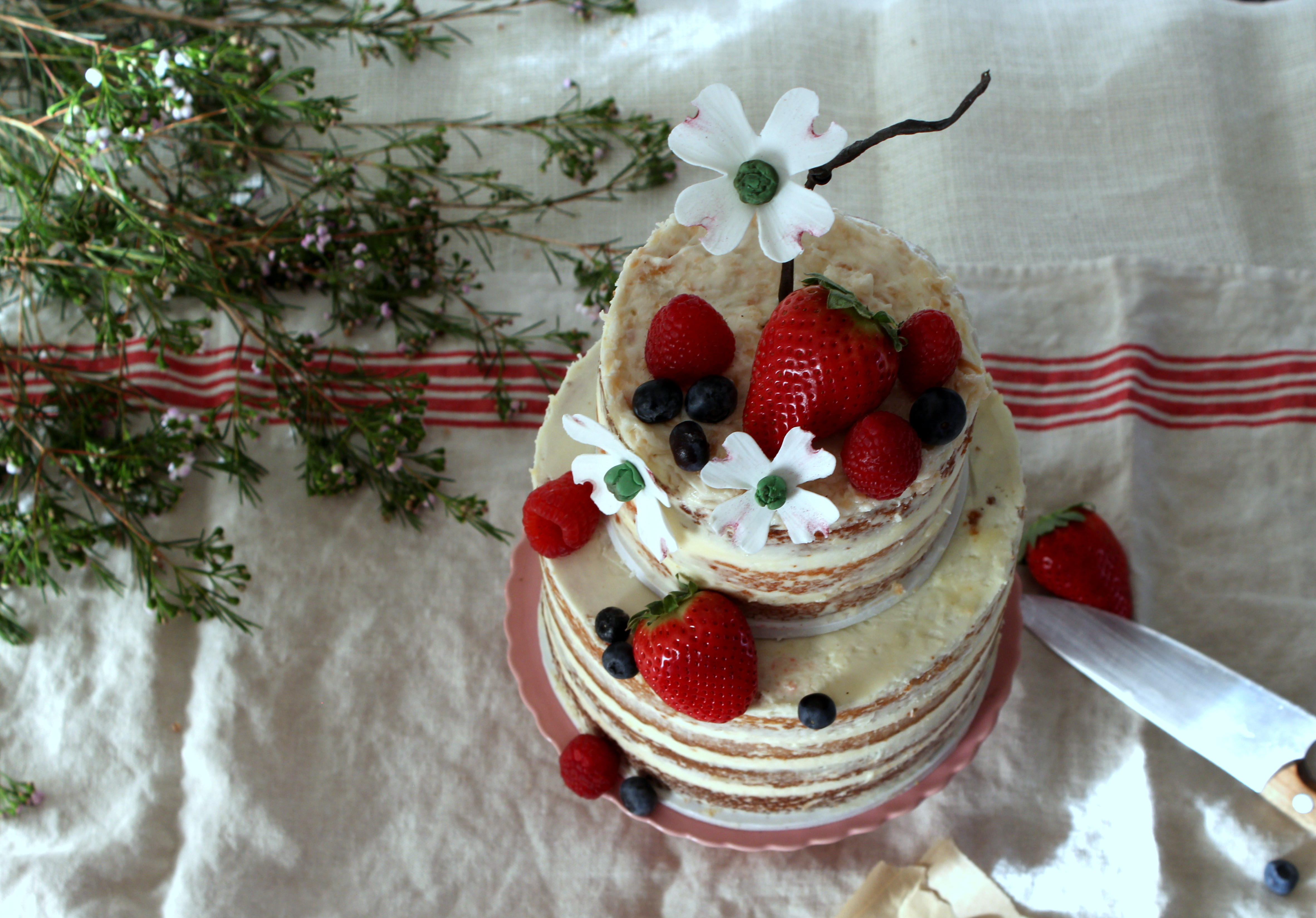 Naked cake with dogwood and strawberries top view.jpg