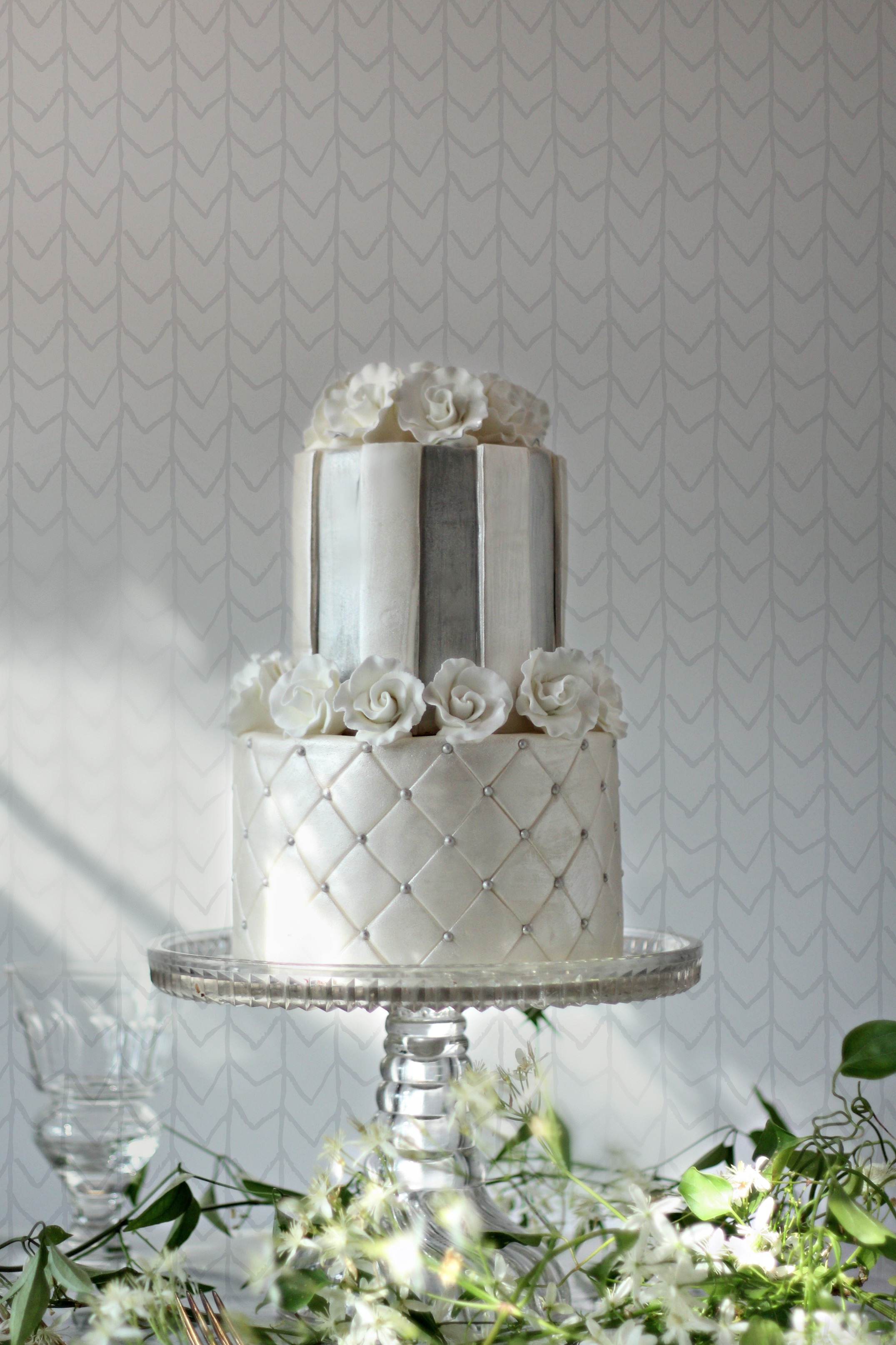 top 2 tiers ciera silve and pearl wedding cake roses quilting stripes damask e