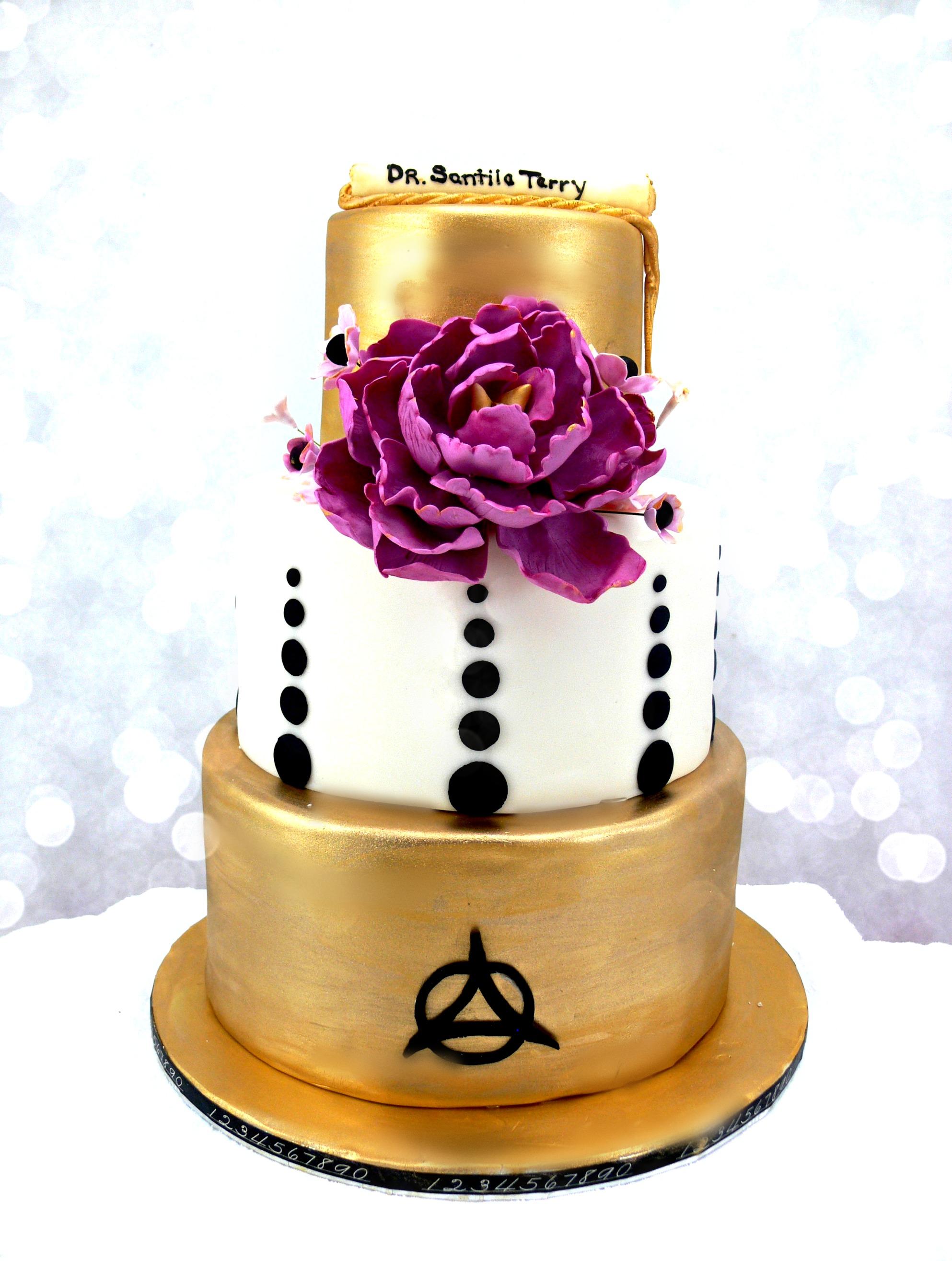 Gold and fuschia peony graduation cake.jpg