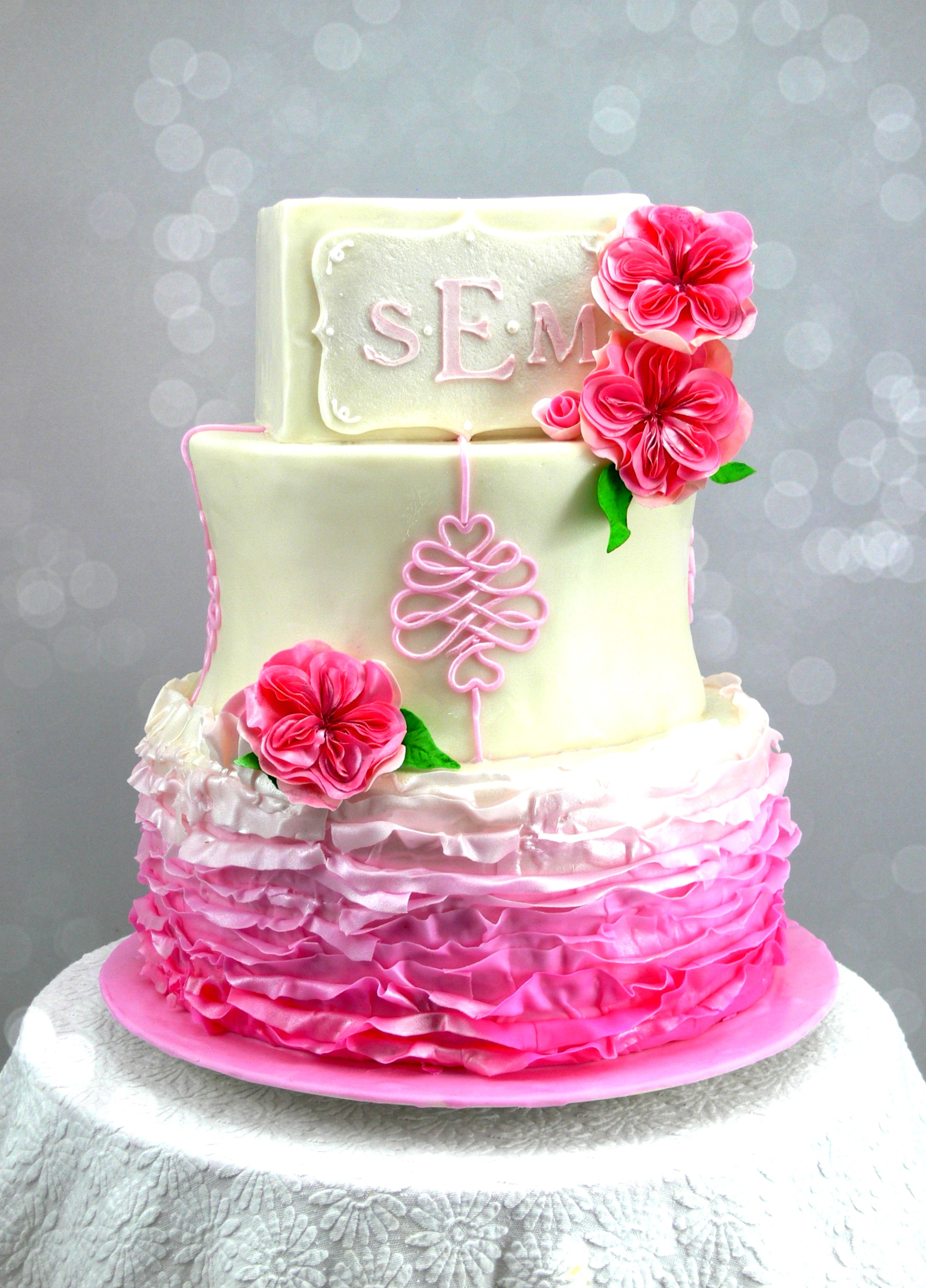 Angela christening cake with pink frills and old fashioned roses.jpg