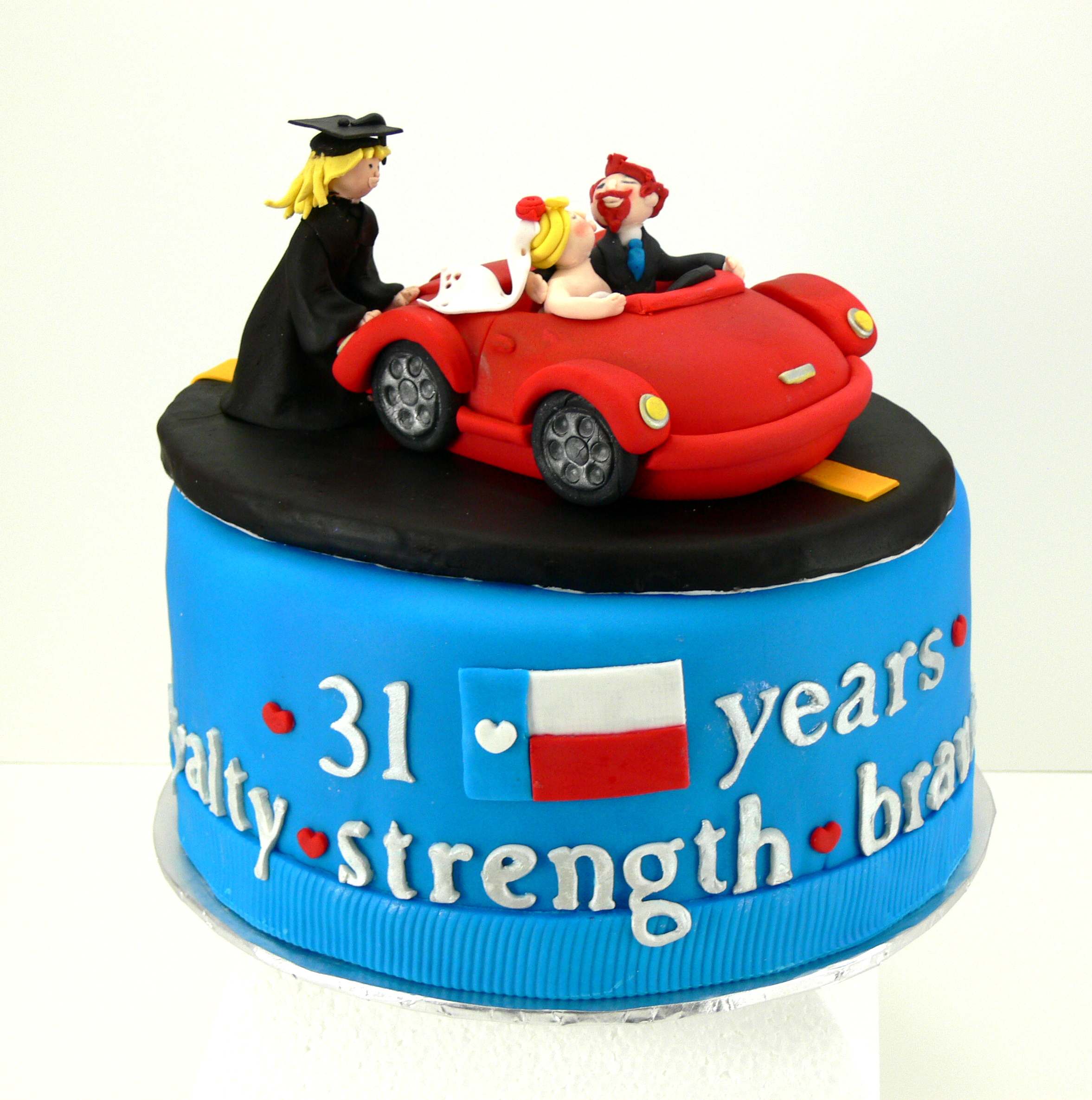 anniversary and graduation cake little red sports car.jpg