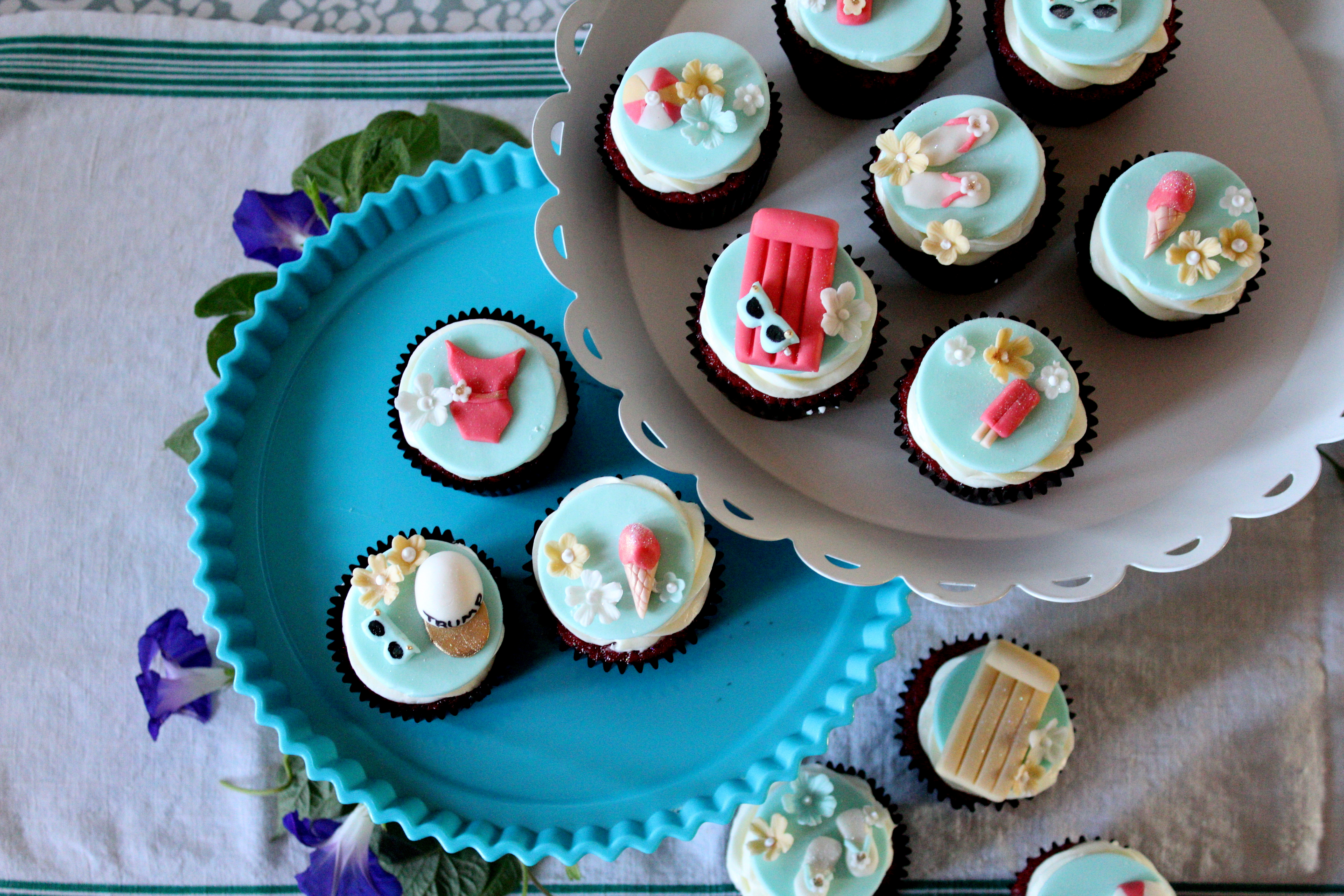 Pool party themed cupcakes.JPG