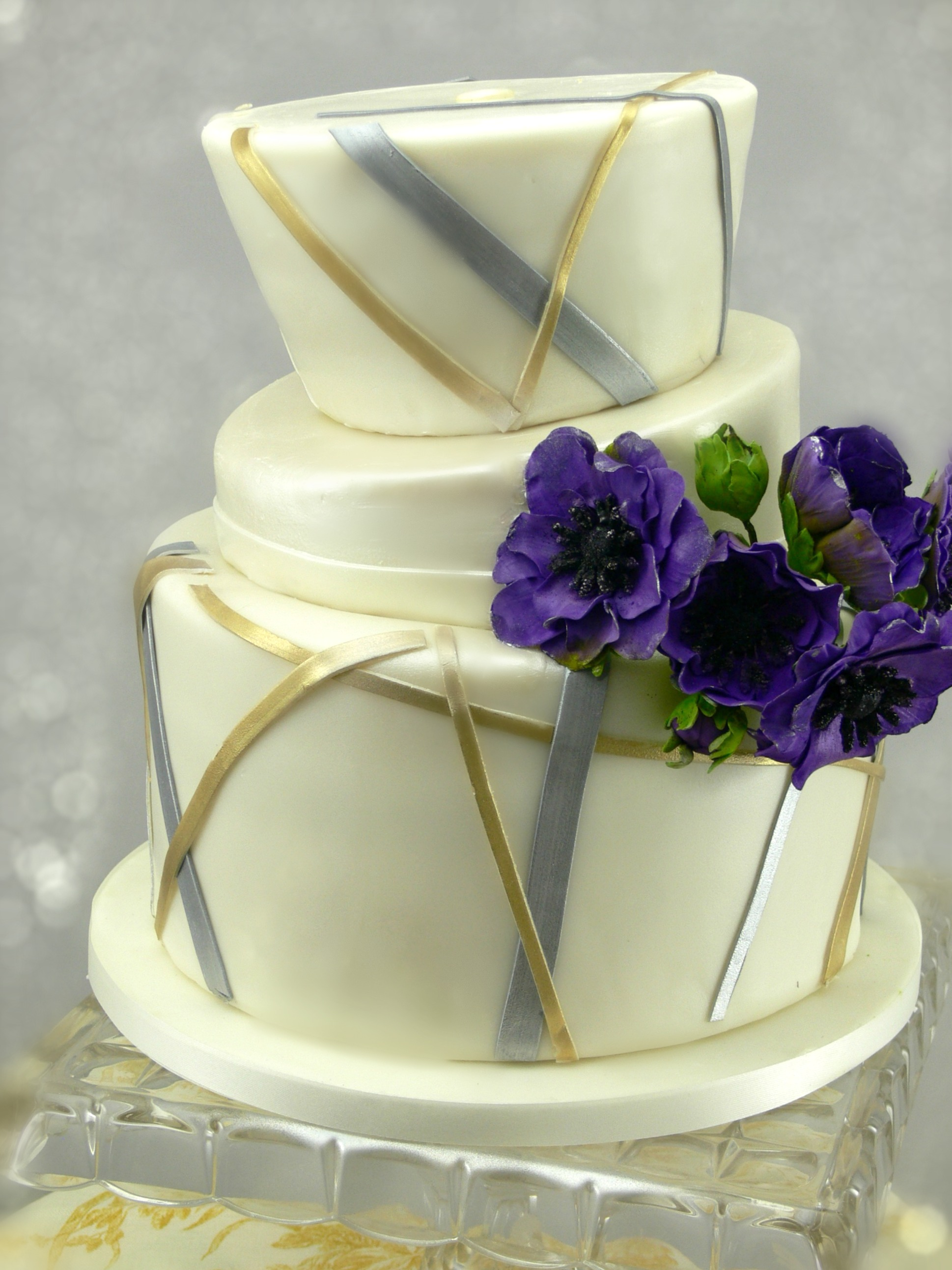 Contemporary Shower Cake with Purple Anemones.jpg