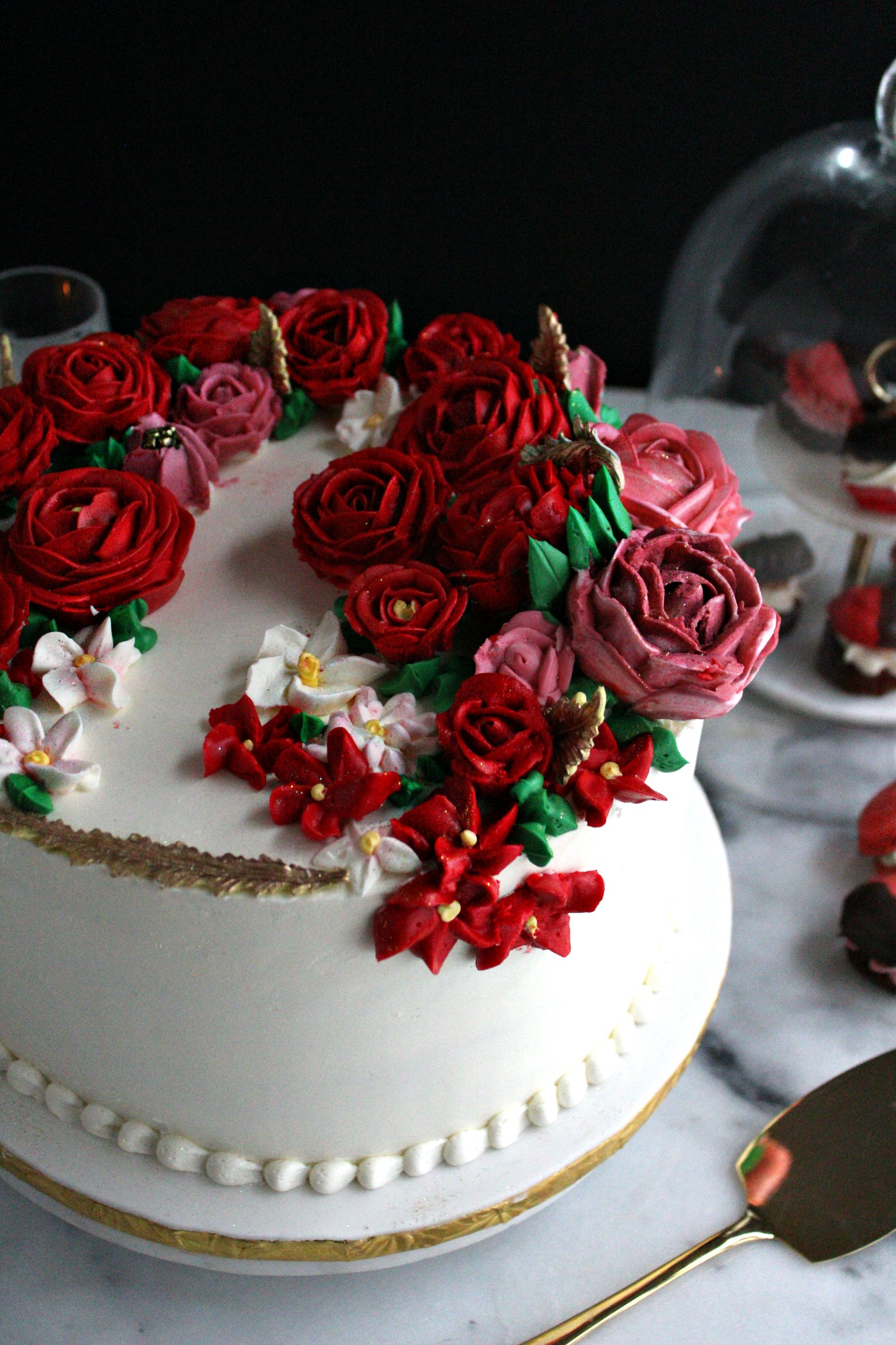 red roses buttercream birthday cake partial shot e