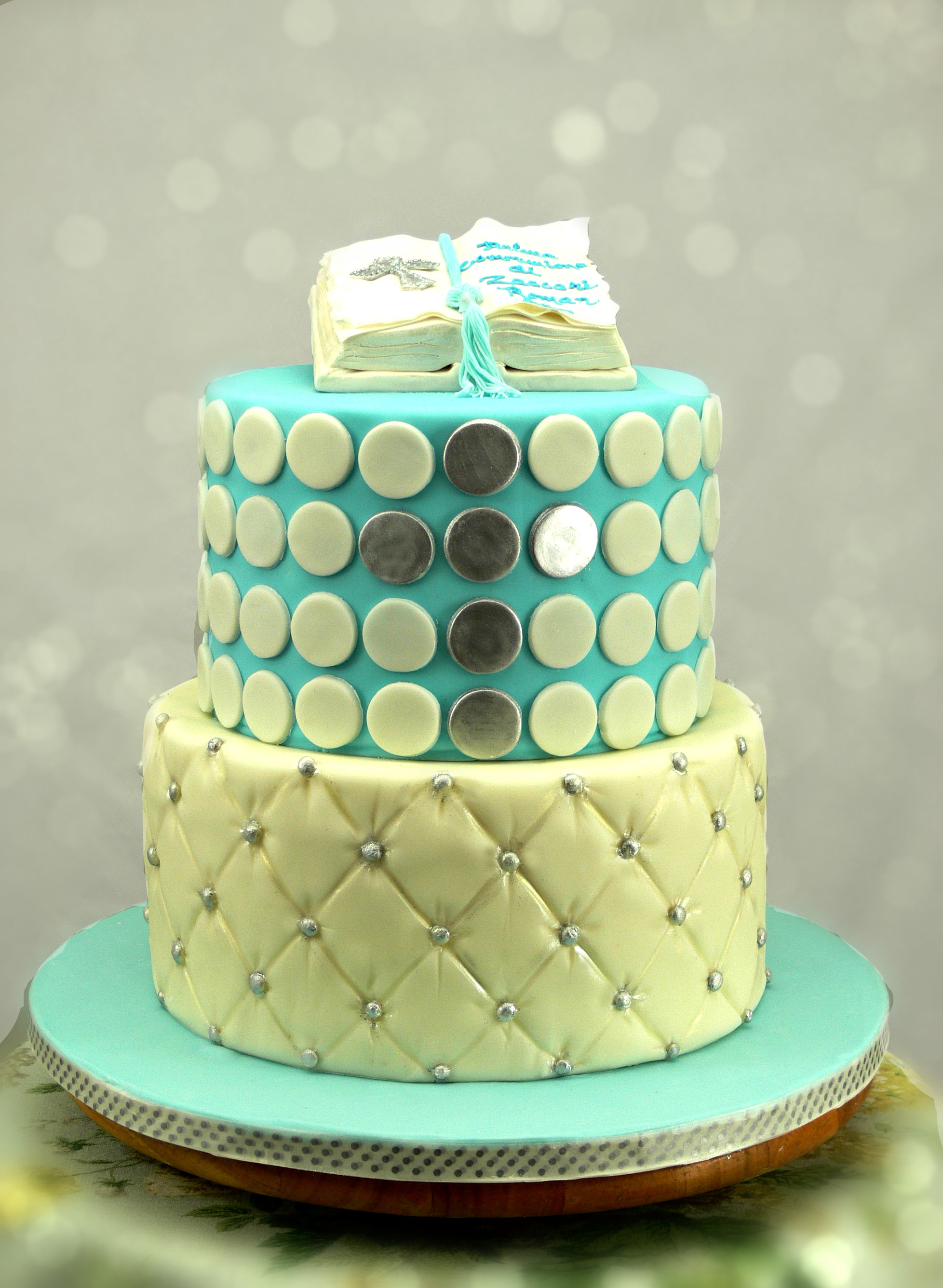 Communion Cake with Bible, dots, and quilting.jpg