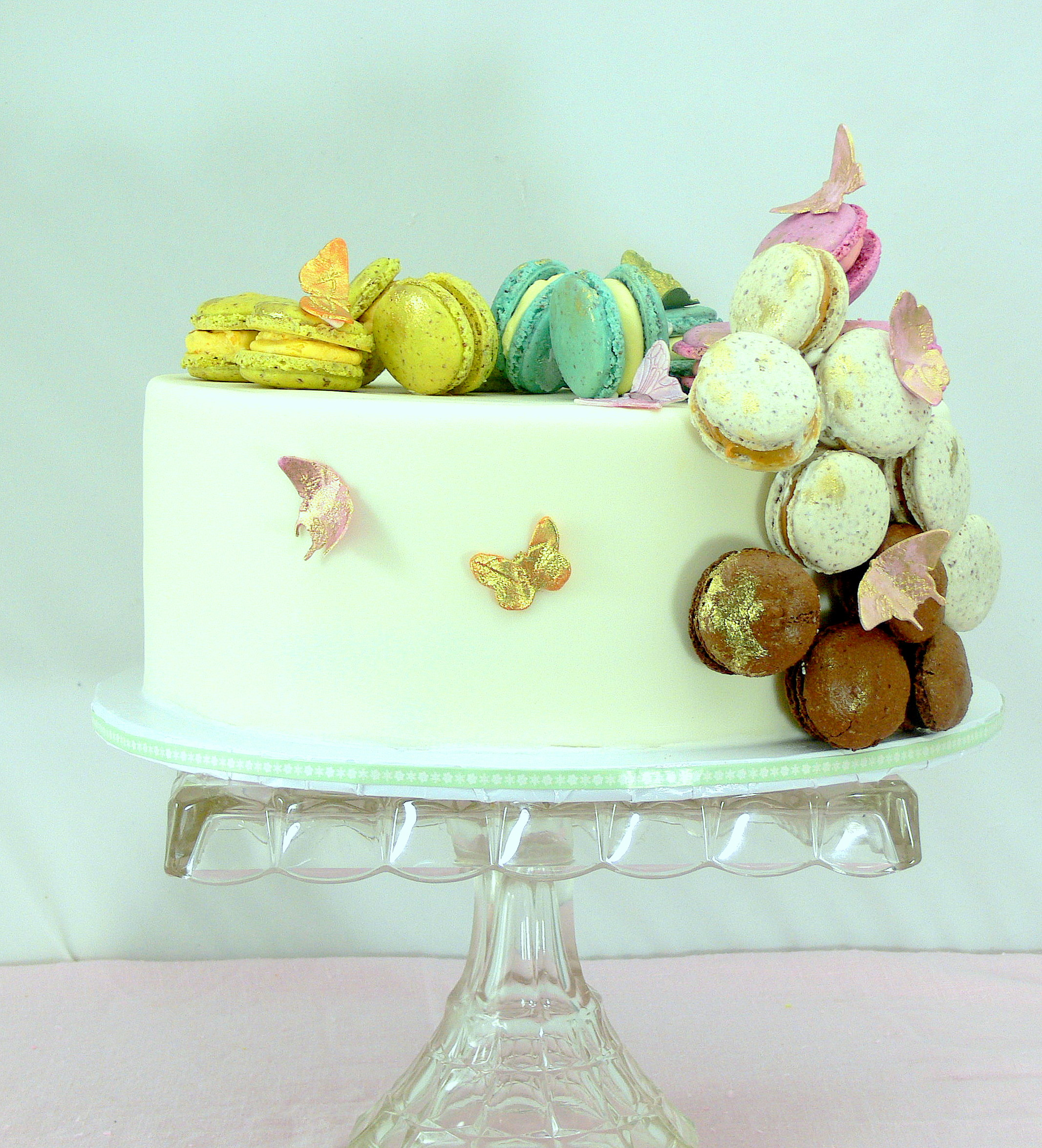 Flight of the macaron cake with butterflies.JPG