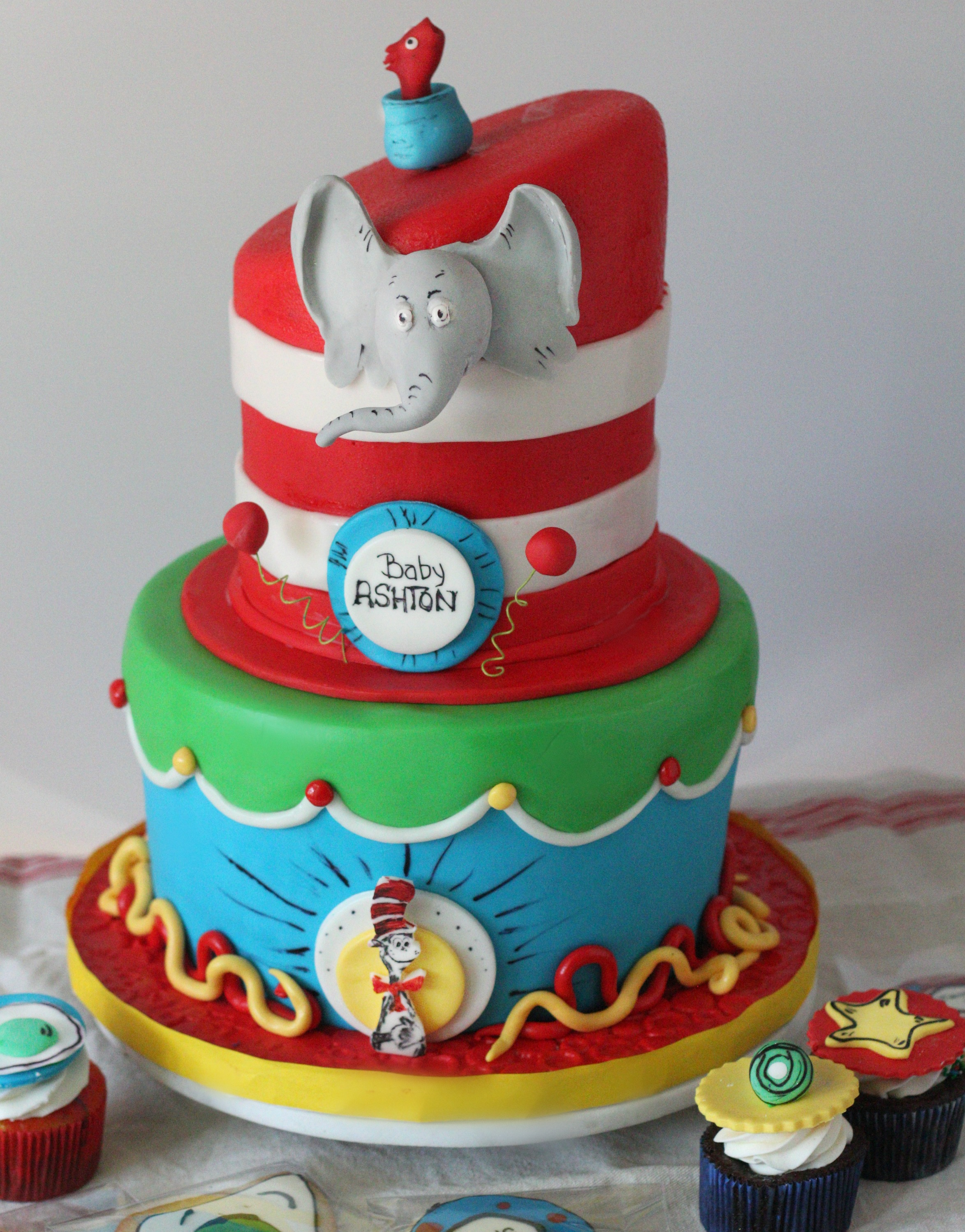 2 tiered dr suess cake with horton elephant e