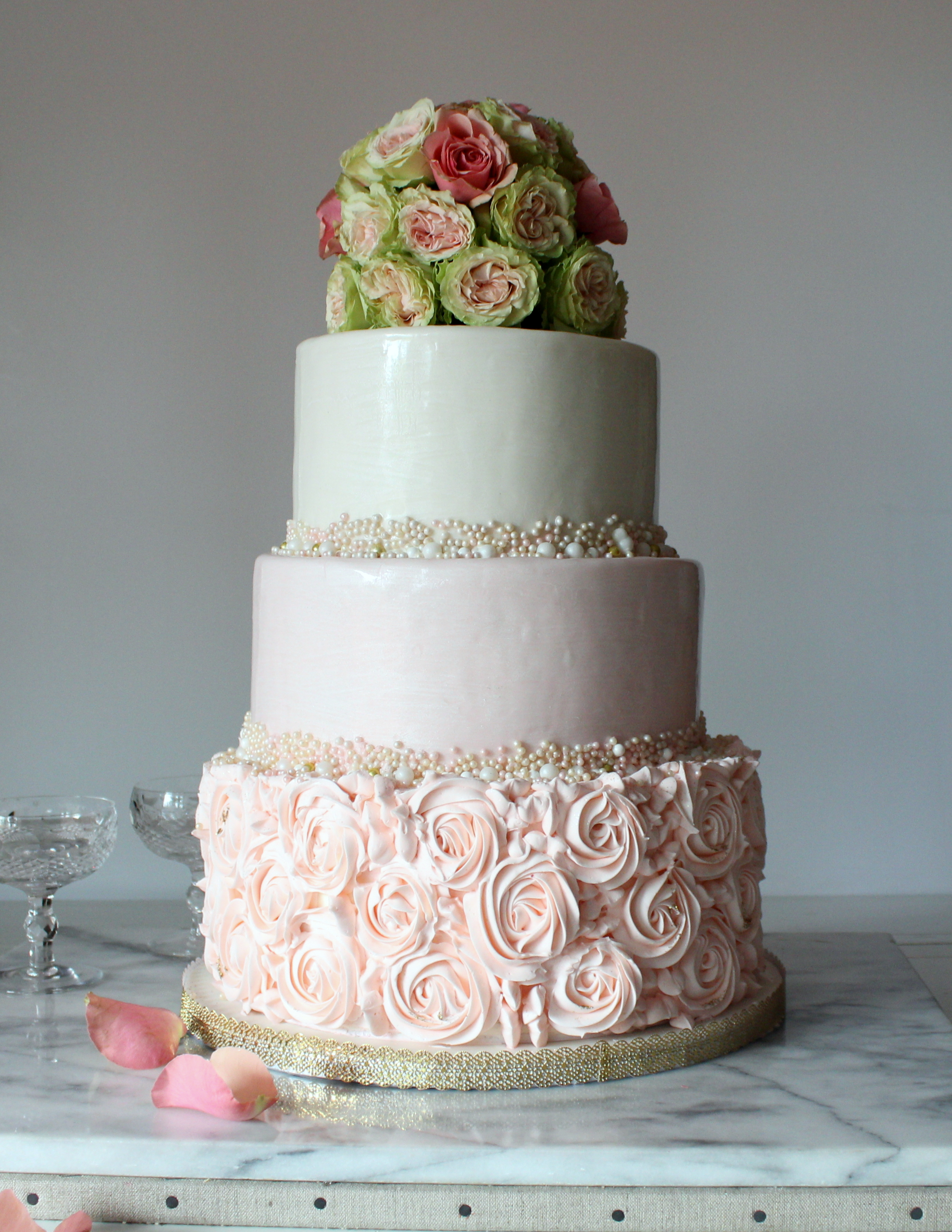 pink ombre wedding cake buttercream rosettes fresh roses pearl border.JPG