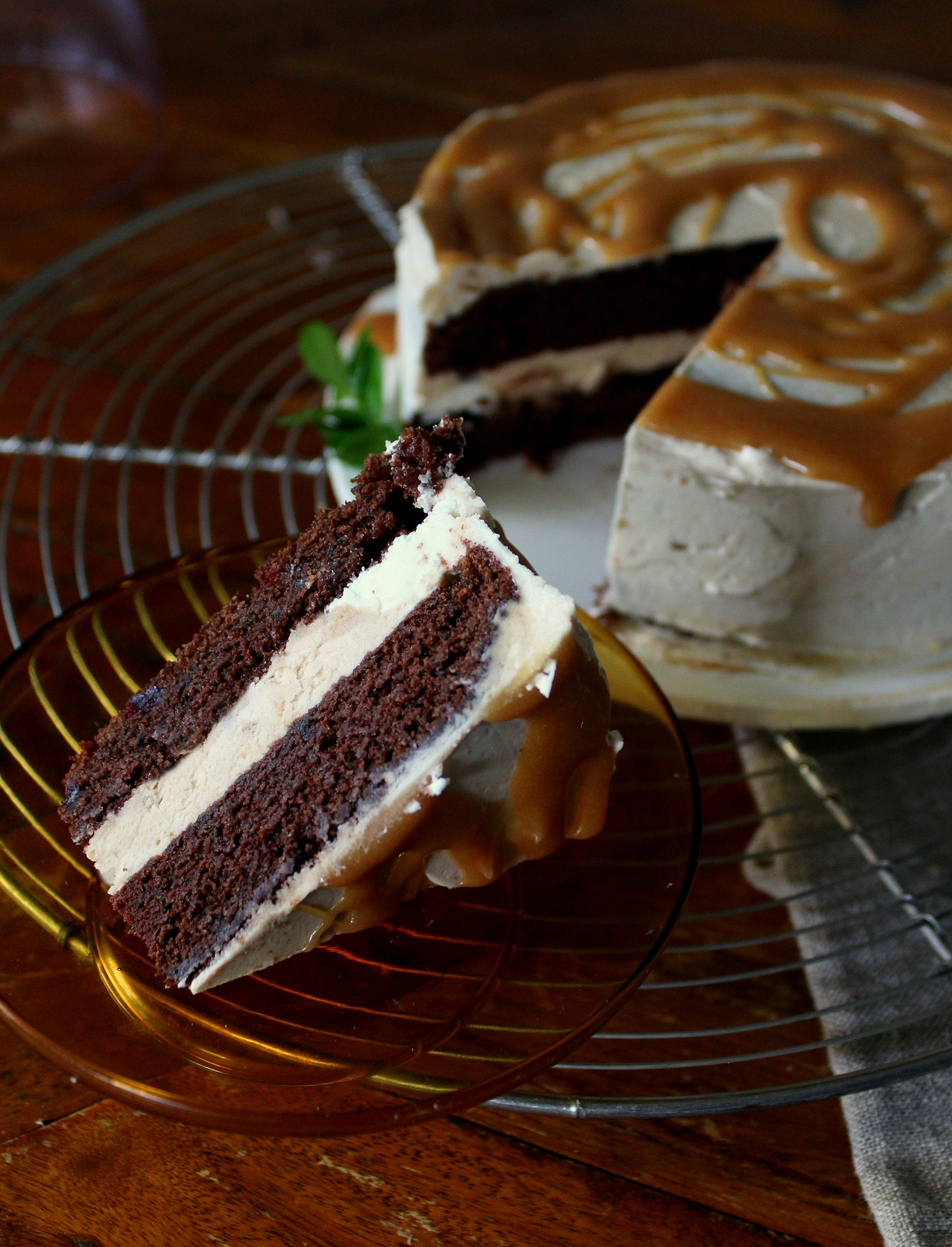 chocolate cake with salted caramel buttercream and drizzle cut slice.jpg