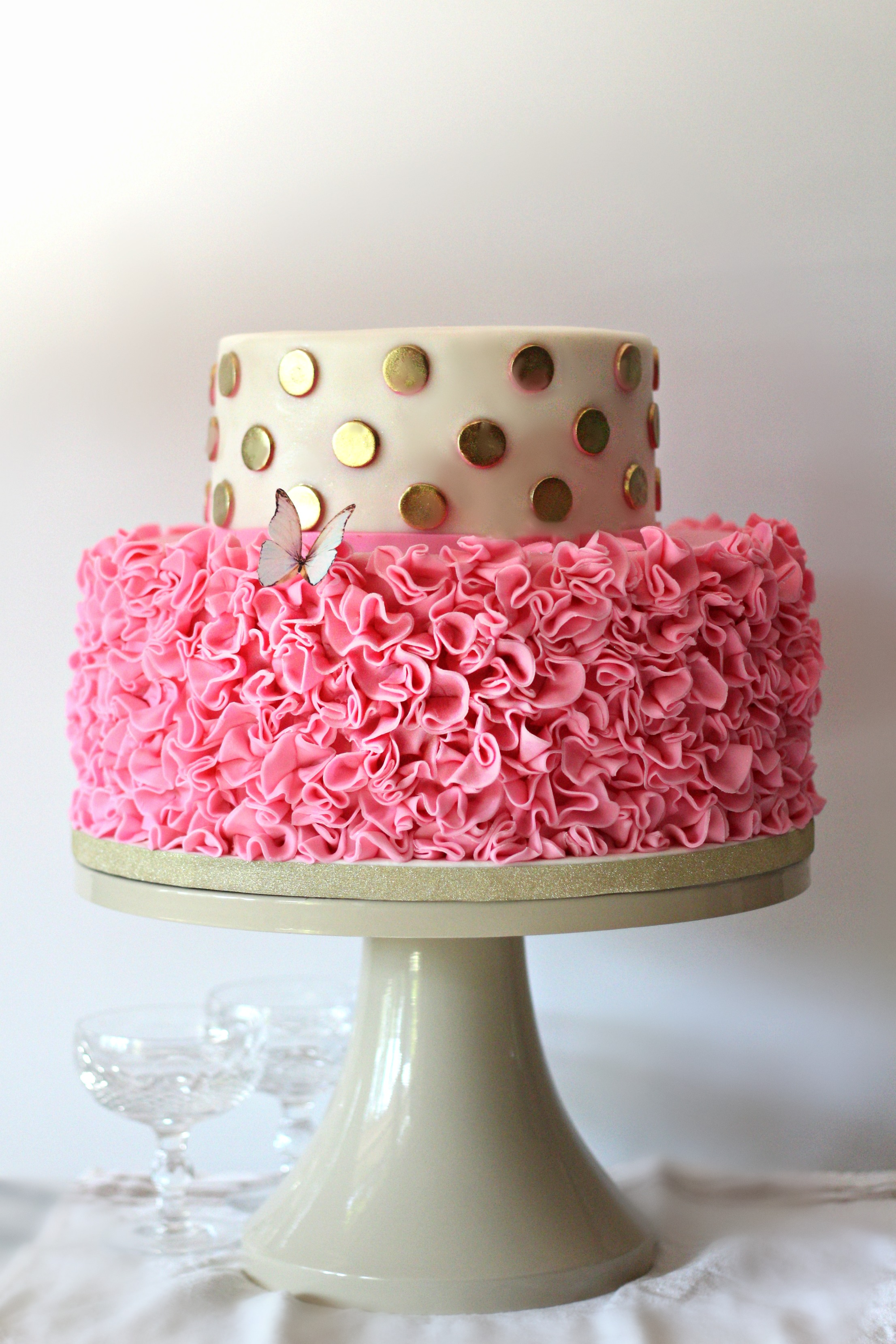 pink and gold ruffles ballerina cake for baby shower e