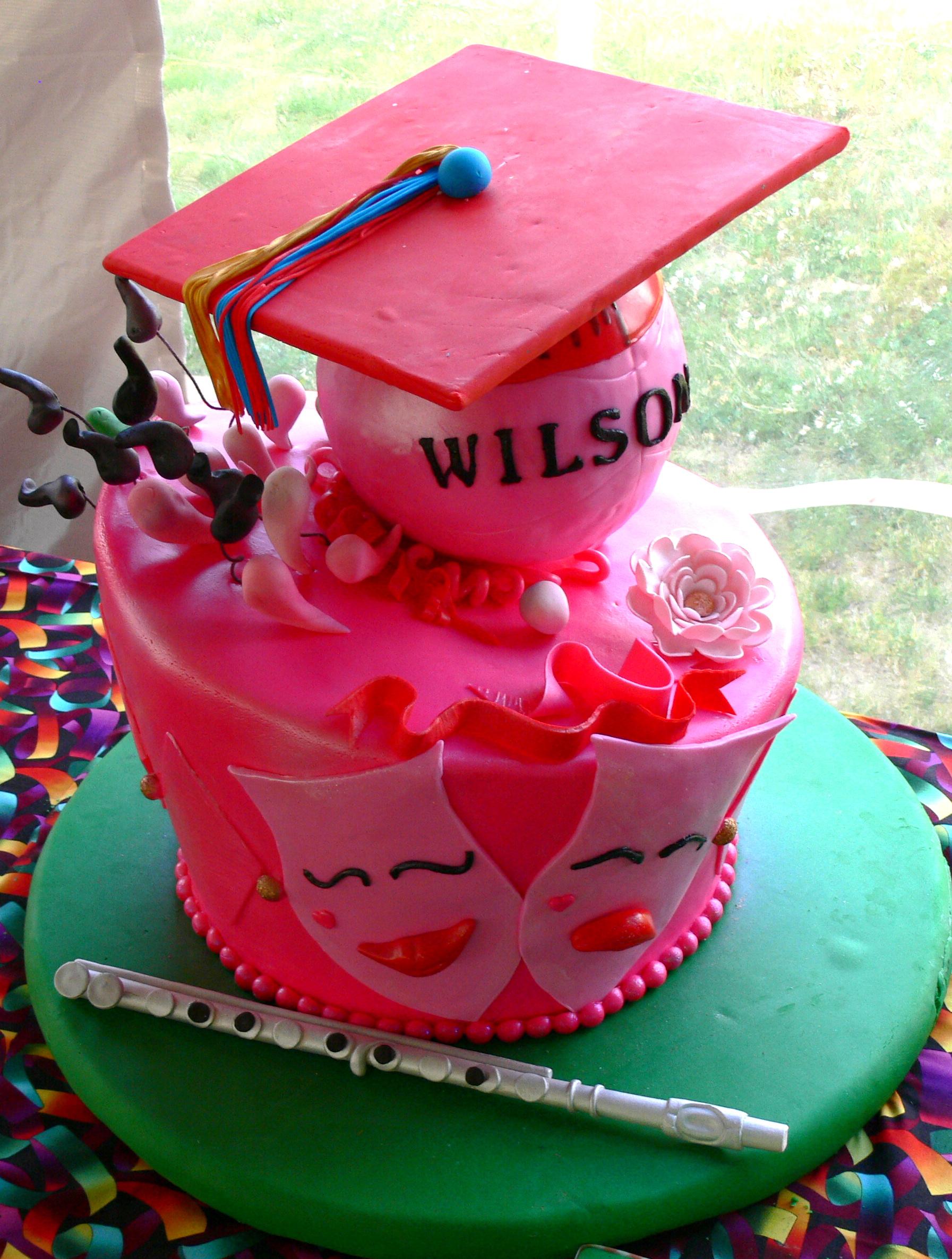 Feminine high school graduation cake theatre flute volleyball.jpg