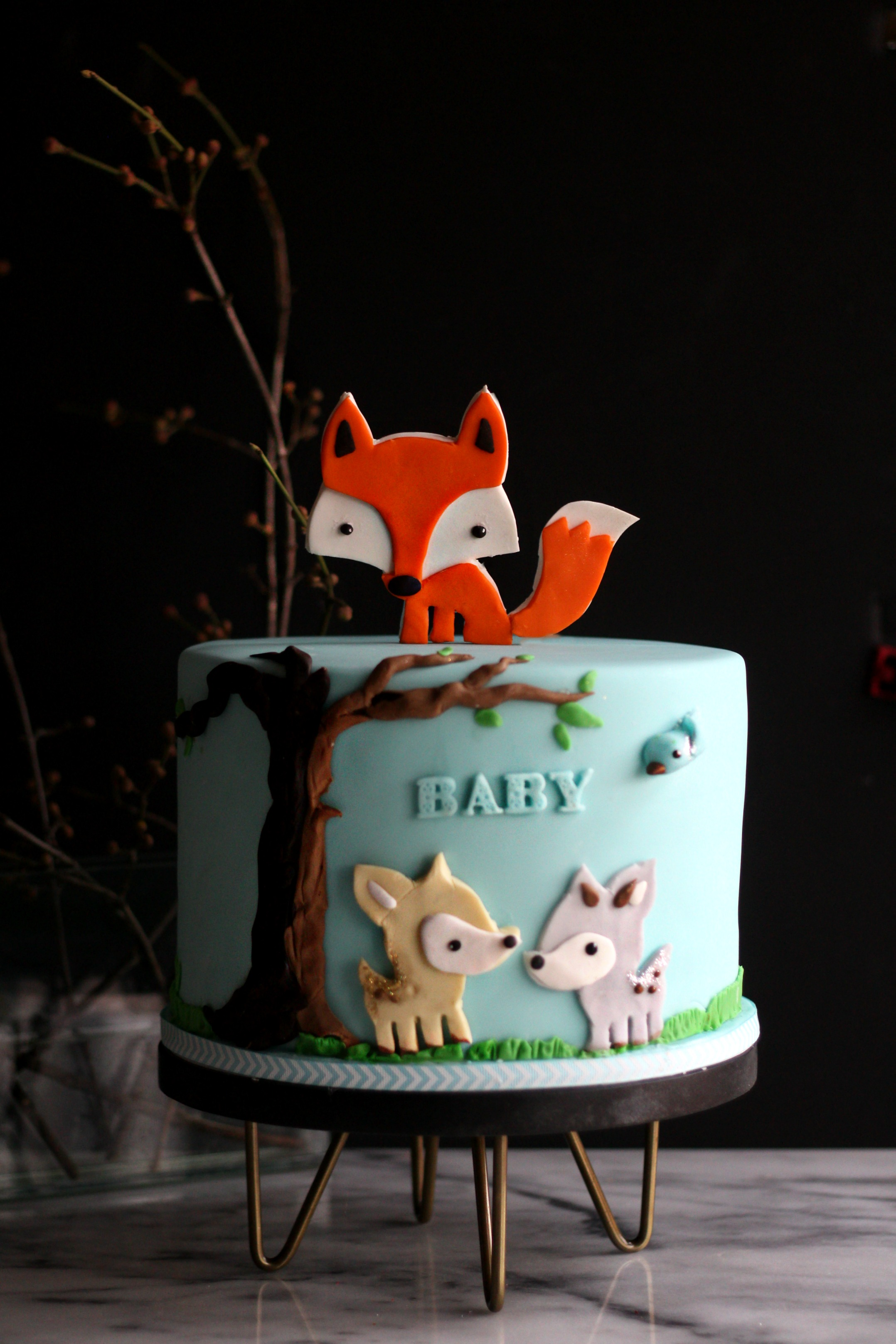 Sarah woodland fairy tale baby shower cake e