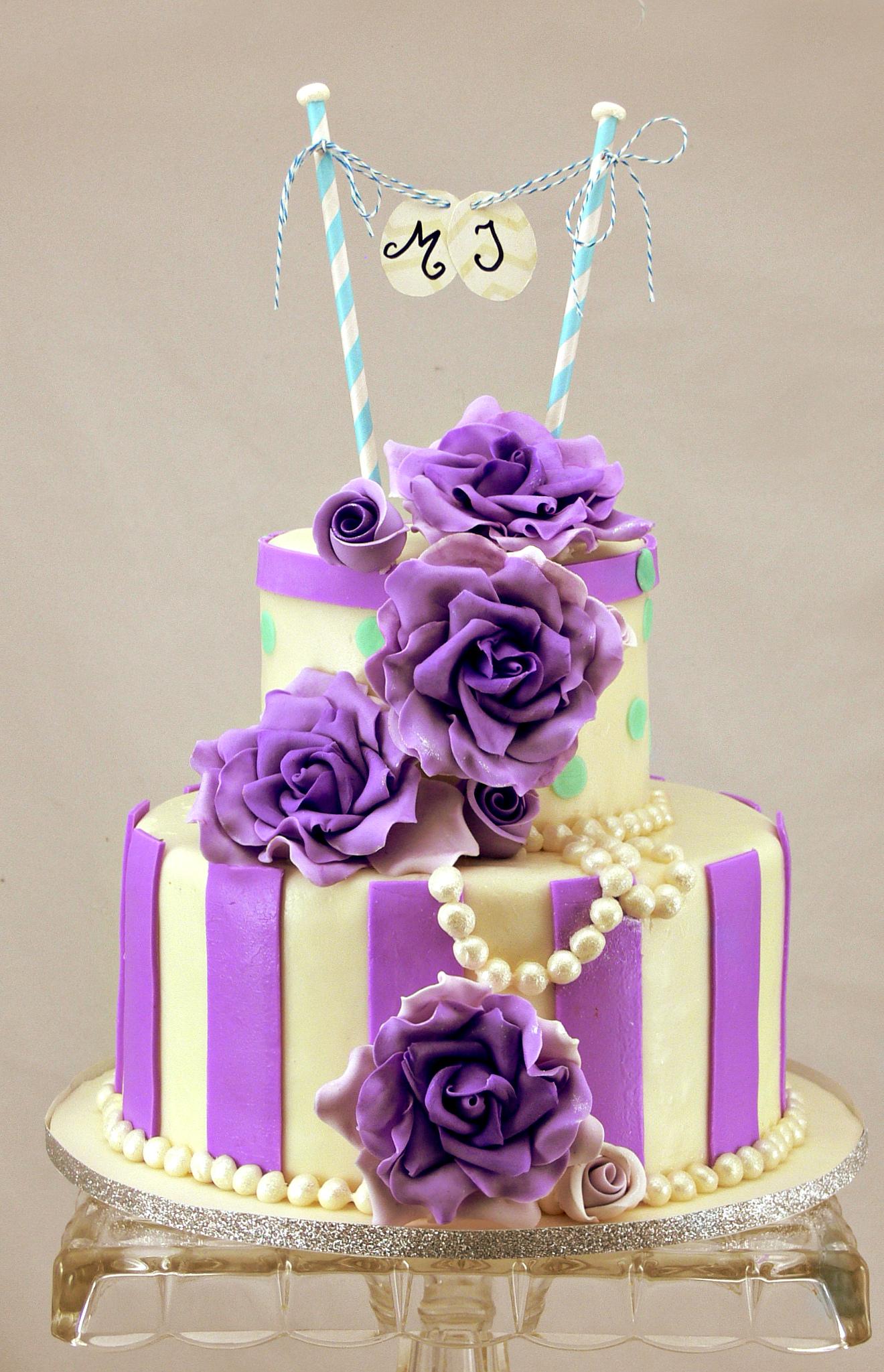 Melissa shower cake purple roses british style.jpg