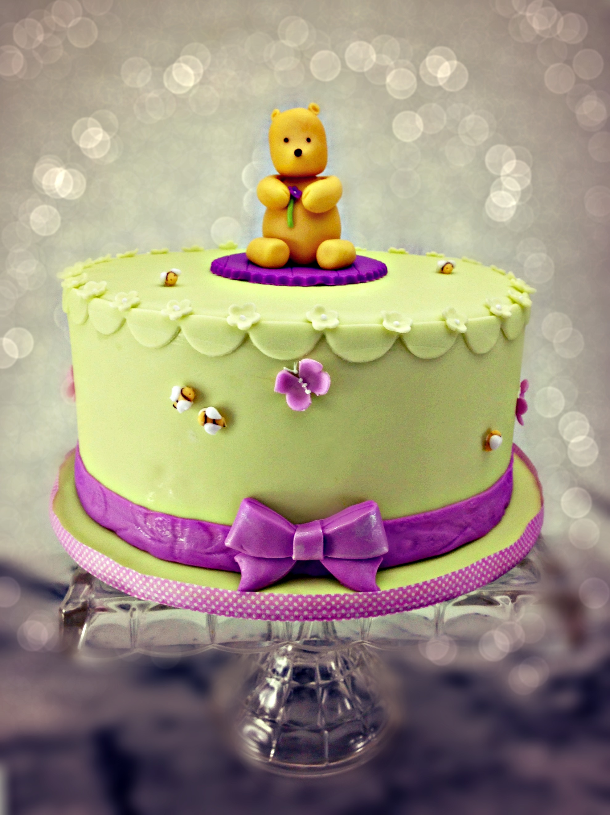 pooh bear shower cake green and purple.jpg