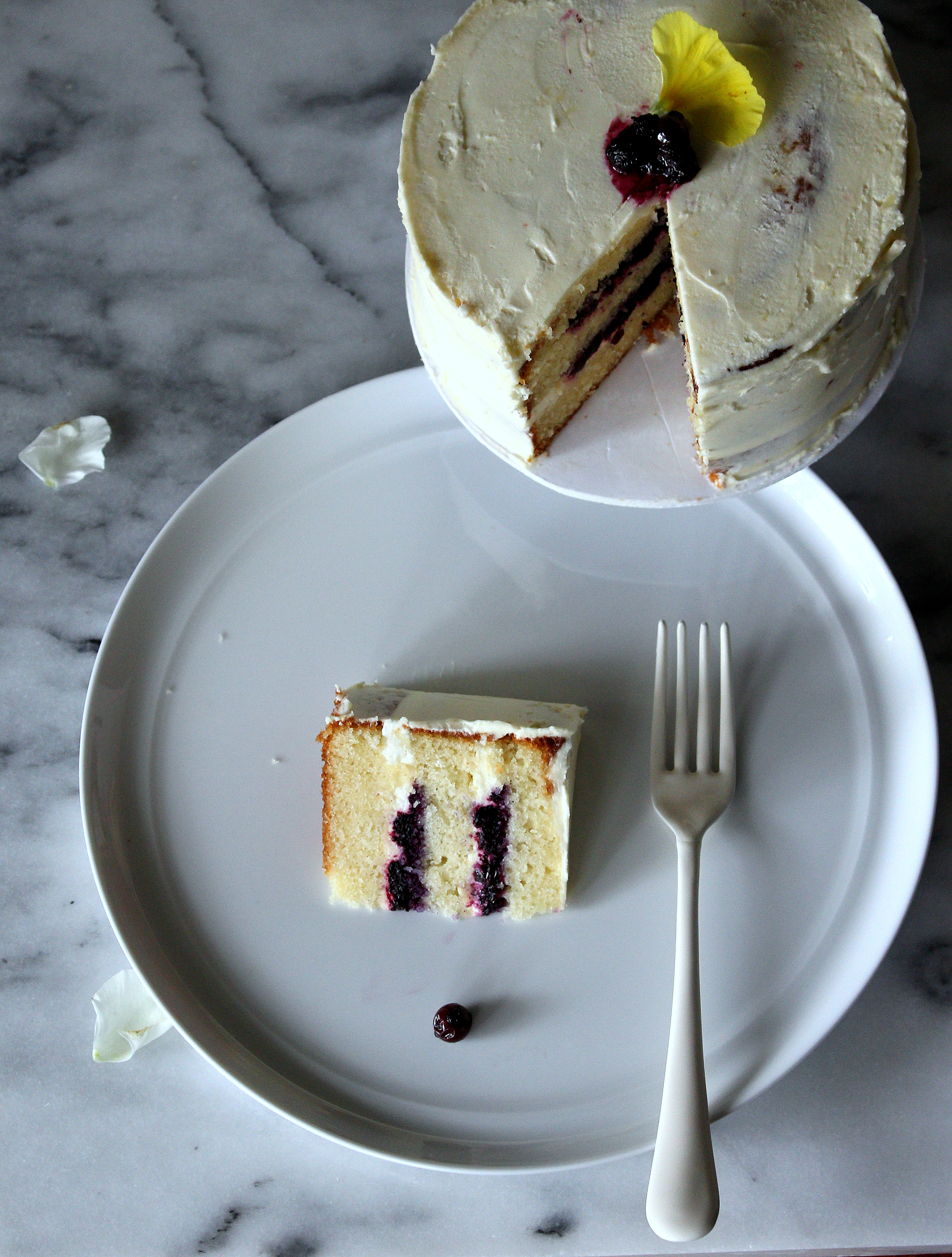 Lemon Cream cake with Blueberry compote slice.jpg