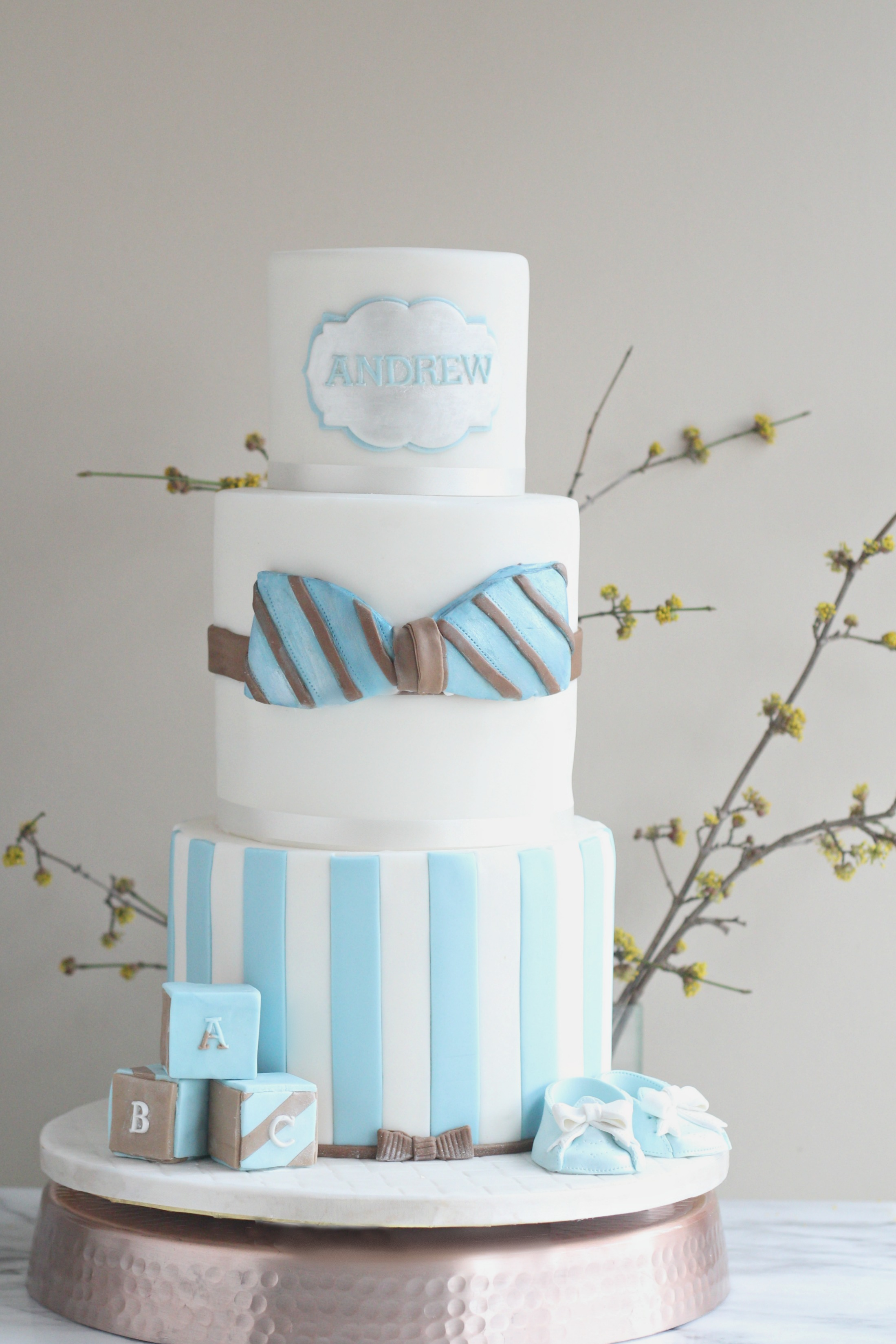 Andrew baptism cake bow tie blue and brown booties blocks e