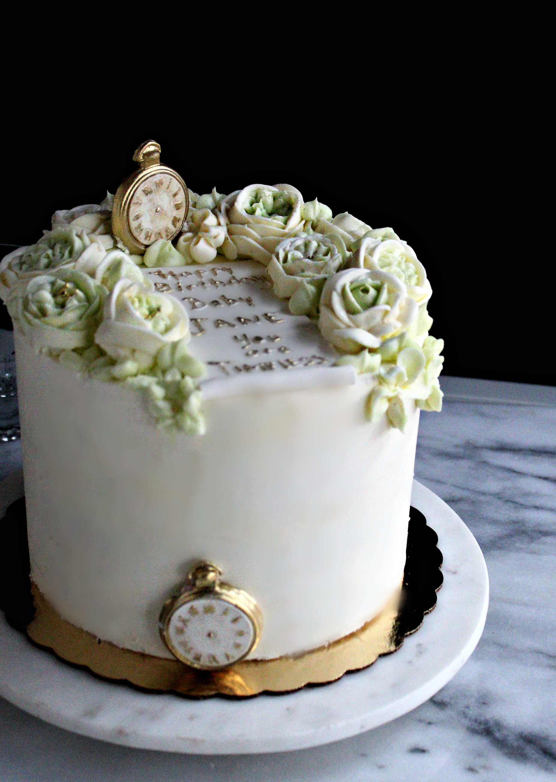 buttercream roses ivory green timeless clock