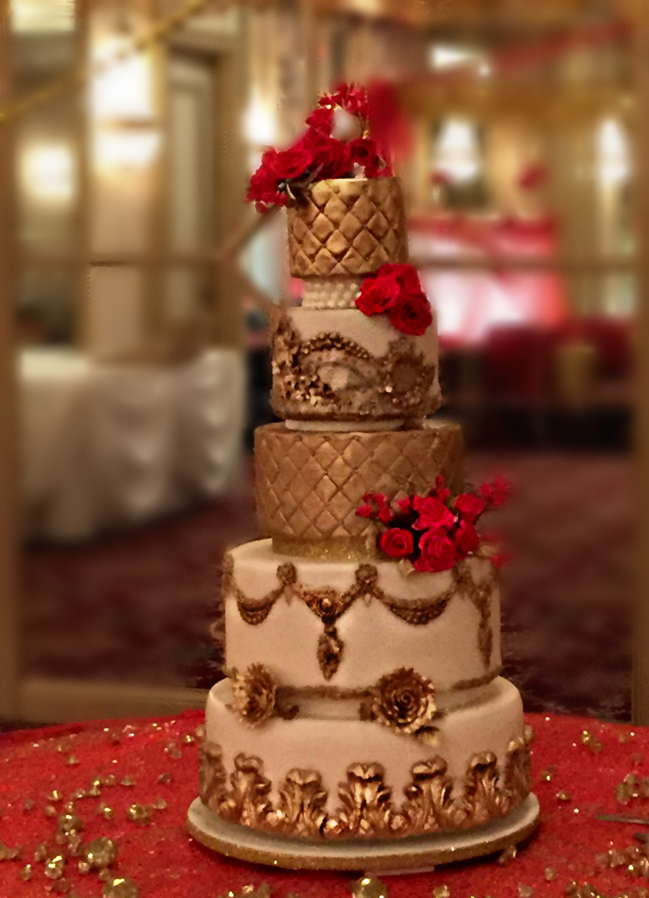 tall elegant gold white red wedding cake jane 1 e