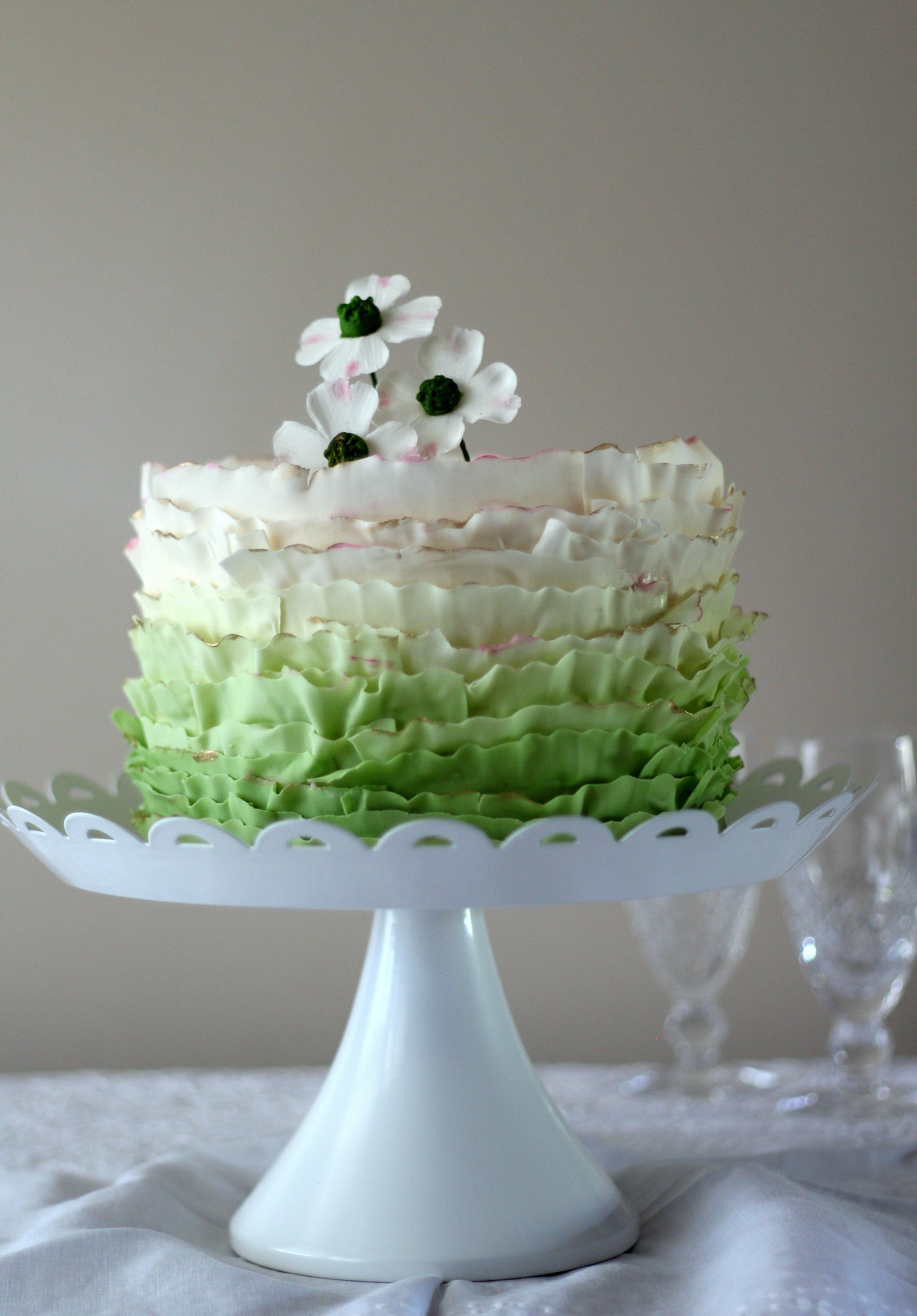 frilled ruffled green dogwood cake tier.jpg