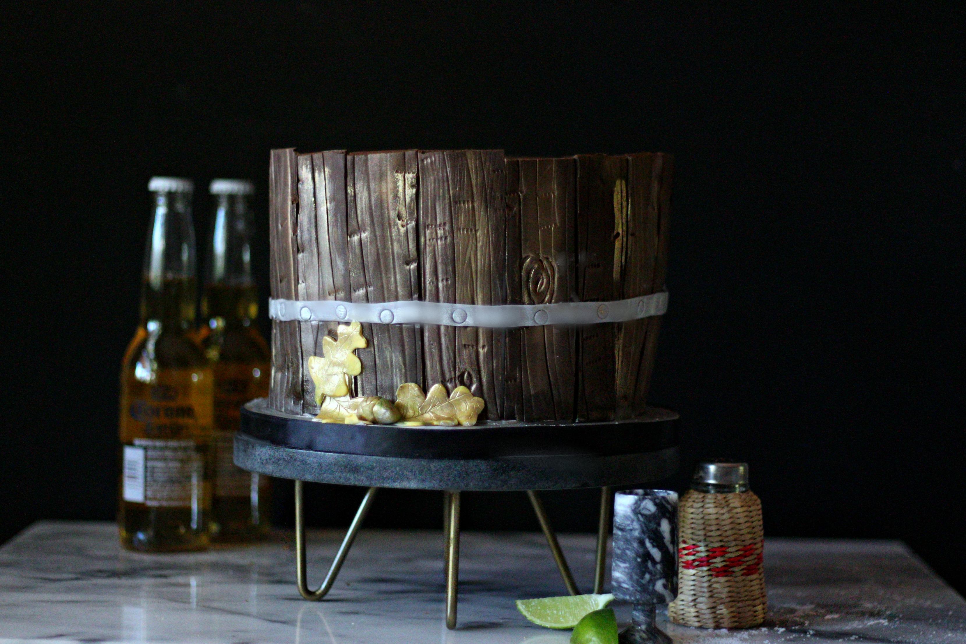 guys beer bucket birthday cake wood grain e