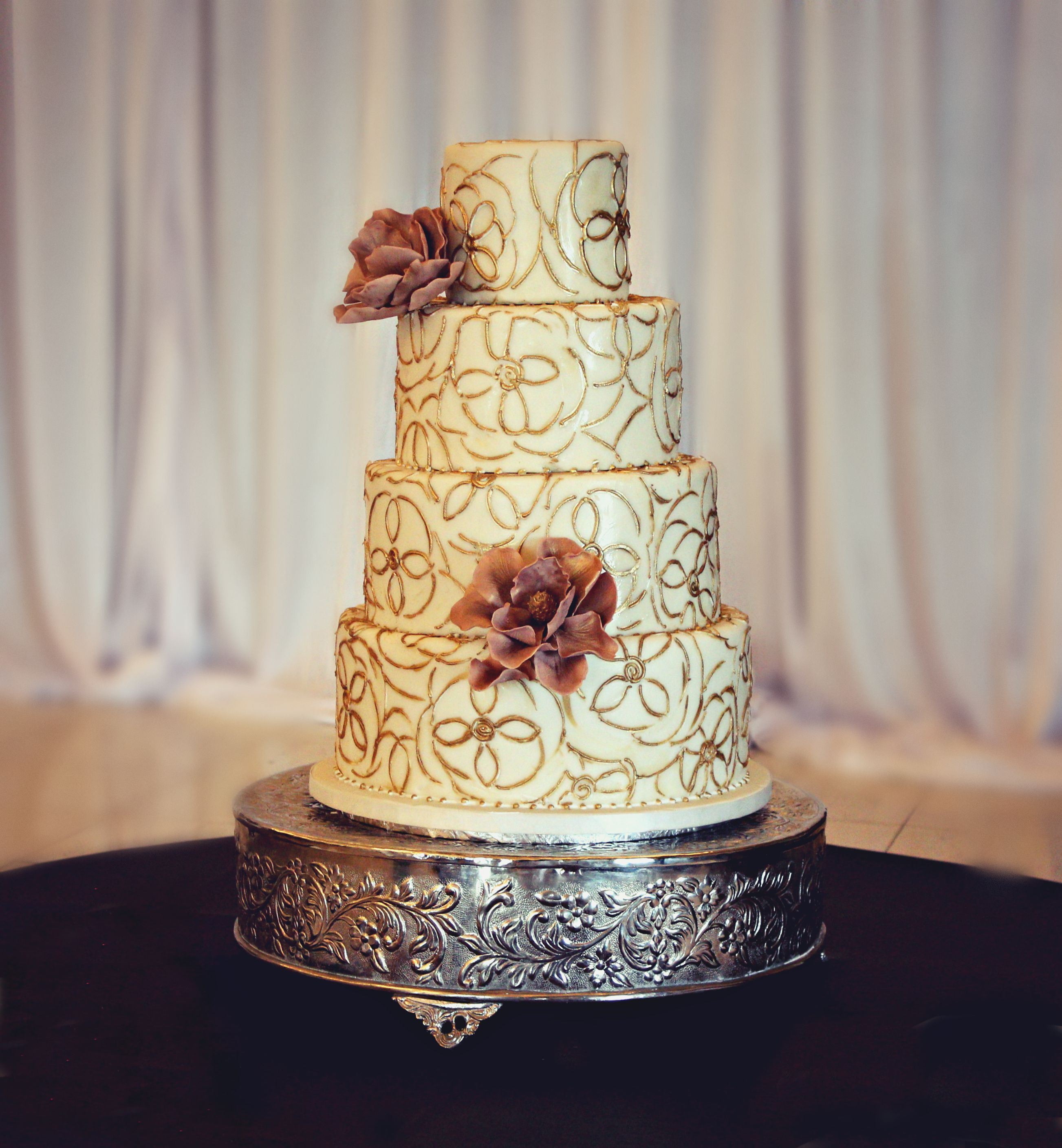Gold and chocolate brown wedding cake 4 tiers on site edit.jpg