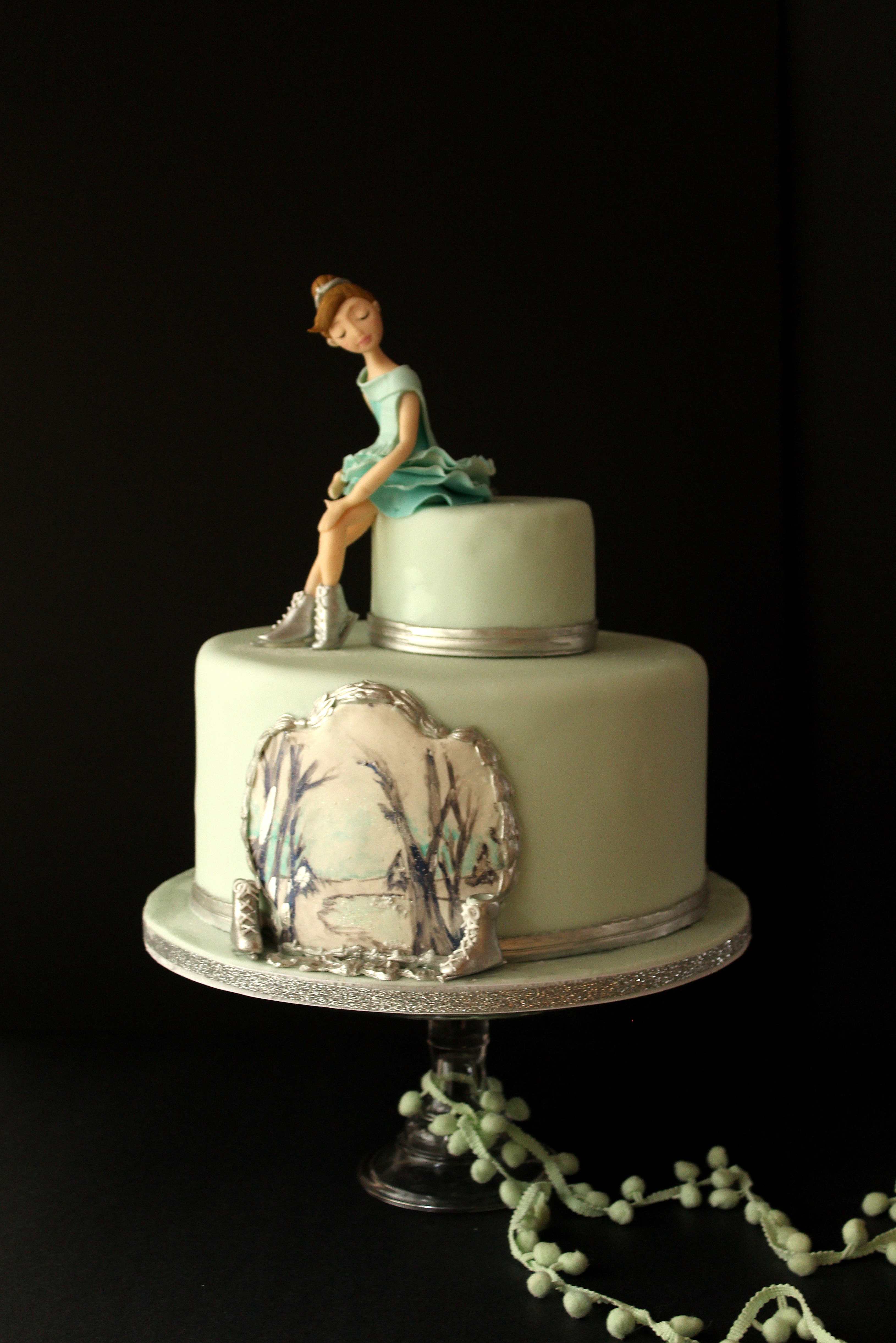 Ice Skater girl on mint green birthday cake with hand painted panel.jpg
