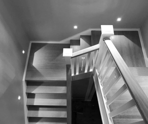 Contemporary staircase design with timber stairs by Budget Stairs