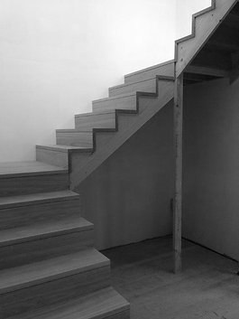 black and white staircase image.