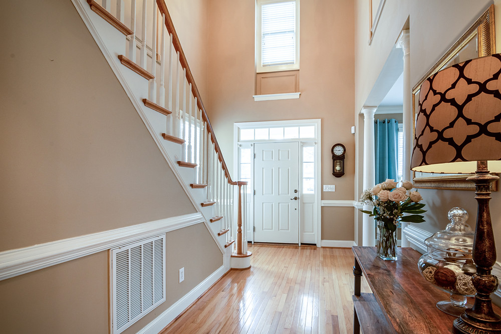 timber staircase in modern home image