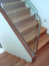 Glass balustrades and timber stairs sydney image