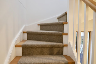 Bondi closed string pine rise tread carpet runner staircase by budget stairs