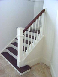 white and timber balustrades sydney based staircase design by Budget Stairs