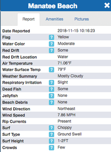 Example Mote Marine Red Tide Beach Report