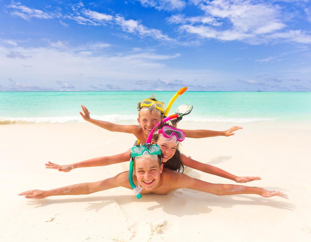 Kids Snorkel Gear on Beach