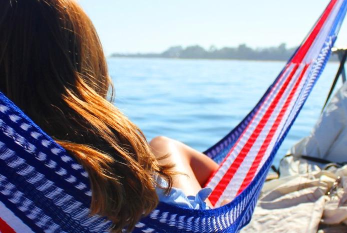 Girl sitting in American Hammock