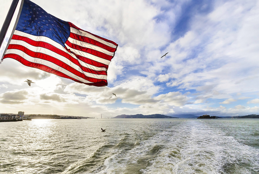American Flag flying on Boat