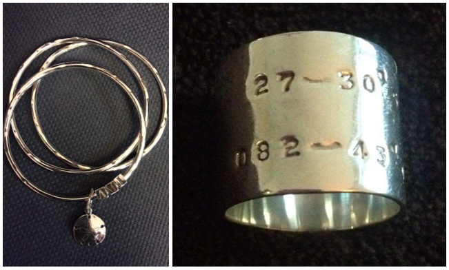 latitude ring and AMI bracelet by Tide and Moon Jewelry