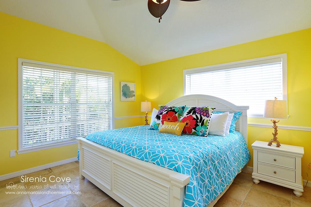 Sunny Coastal Decor Bedroom at Sirenia Cove